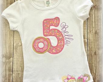 Donut birthday shirt - sprinkles birthday shirt - 1st birthday donut shirt - personalized shirt with pink donut - girls birthday shirt