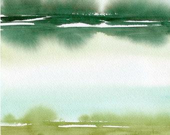 Original Green Landscape Painting, original watercolor, abstract painting, abstract landscape