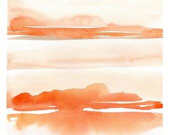 Original Abstract Watercolor Art, Landscape Painting, living room decor, modern landscape wall art, orange wall art