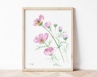 Pink Watercolor Cosmos Flowers Painting, original watercolor art, 8x10