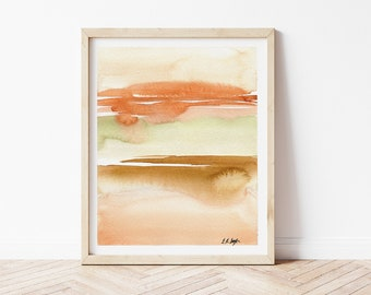 Original Abstract Watercolor, Orange and Gold Landscape Painting, Modern Abstract Landscape Art
