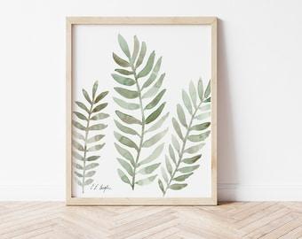 printable watercolor art, sage plants,boho art print,instant download art,neutral art, digital watercolor, living room wall art