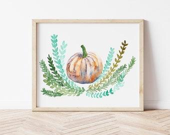 Original Watercolor Orange Fall Pumpkin Painting, 8x10, fall home decor, pumpkin wall art