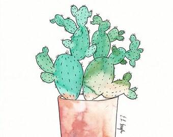 Watercolor Cactus Illustration, original watercolor art, cactus wall art