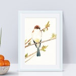 Watercolor bird print, 5x7, bird on a branch, little bird, watercolor painting, spring, song bird, yellow, blue, giclee print