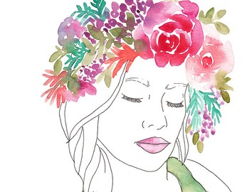 Original Watercolor Figure Painting, girl with flower crown, original art, girls room art, peaceful home, inspiring artwork, 8x10