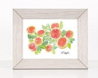 Original Fruit Watercolor Painting, fruit decor, grapefruit painting, furit wall art, original art