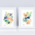 Spring Watercolor Floral Set, Original Watercolor Paintings, watercolor flowers, floral art, floral decor, spring decor, nursery decor, art