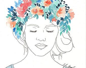 Original Watercolor Flower Girl Painting, 8x10, blue wall art, girls room decor, original art