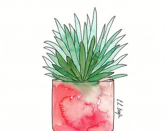 Original Cactus Watercolor Illustration, 11x14, cactus art, cactus painting, aloe illustration, boho wall art