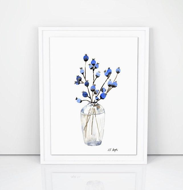 Blue Watercolor Flowers Original Watercolor Art Farmhouse Etsy