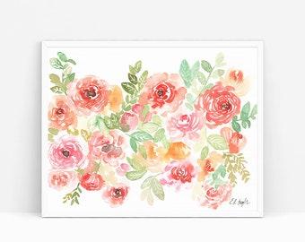 Original Watercolor Flowers Painting, peach flowers, floral art