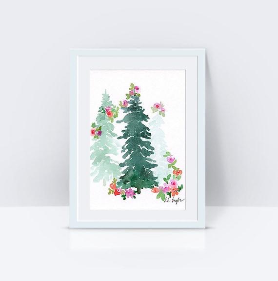 Watercolor Christmas Trees original watercolor painting 5x7 | Etsy