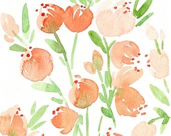 Original Watercolor Peach Flowers Painting, 5x7