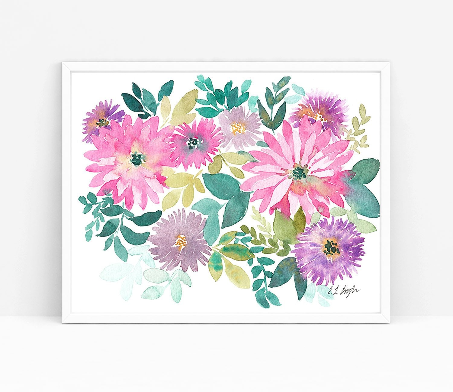 Pink Watercolor Flowers Original Watercolor Painting Purple Etsy