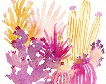 Pink Cactus Garden Painting, original watercolor painting, 8x10