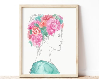 Watercolor and Ink Girl Figure Painting, pink and blue wall art, figure illustration, girl painting