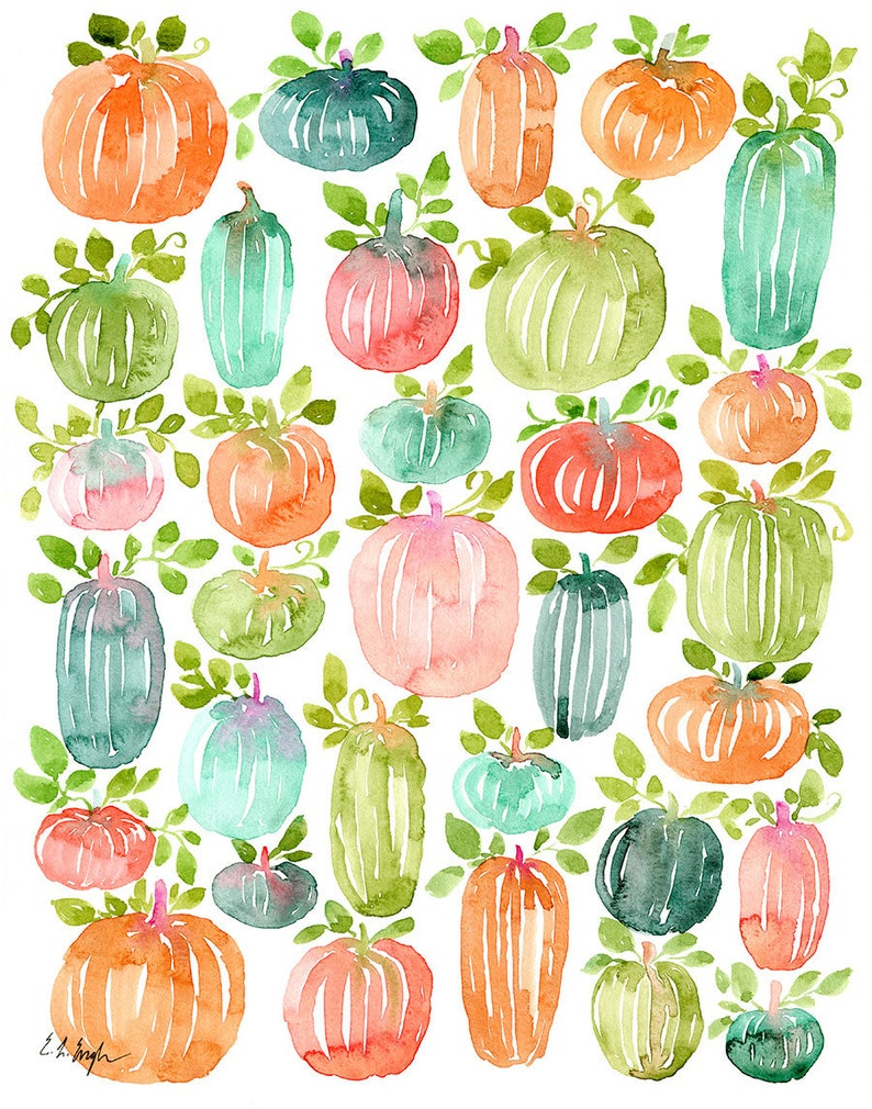 Bright Watercolor Pumpkins with Leaves Fall Painting original image 0