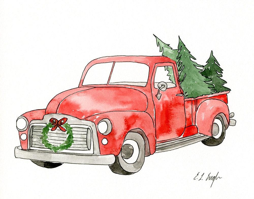 Rustic Christmas Truck original watercolor painting ...