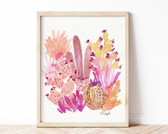 Coral Pink Watercolor Cactus Art, Original Watercolor Painting, 8x10