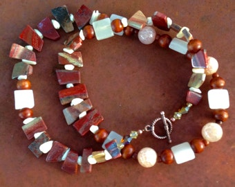 Earthy apple jasper and white onyx necklace