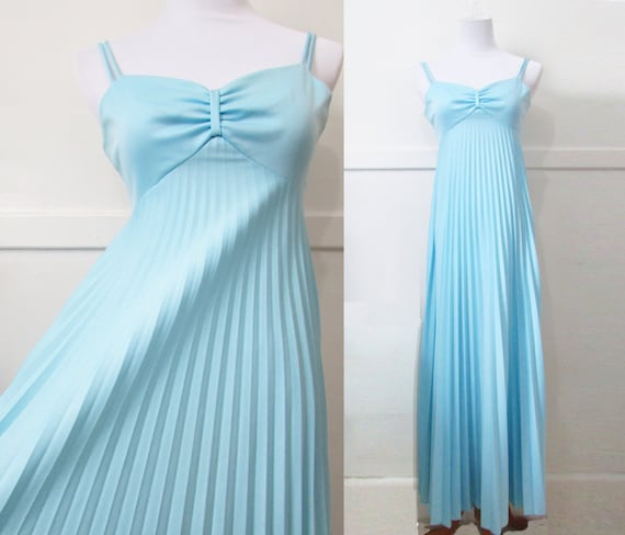 Pleated Tent Dress Gown Vintage 70s XXS XS