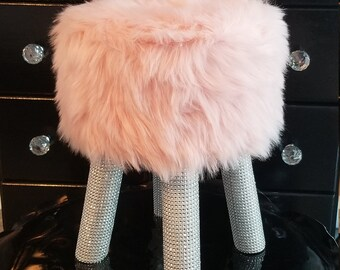Pink faux fur Rhinestone bling stool nursery decor 606019cbabf30