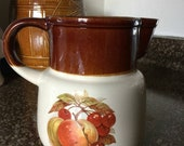 Vintage McCoy Water, juice, or Milk Pitcher. 132 with trademark, featuring fruit, peaches, cherries, vtg exc vgc 70s farm house farmhouse