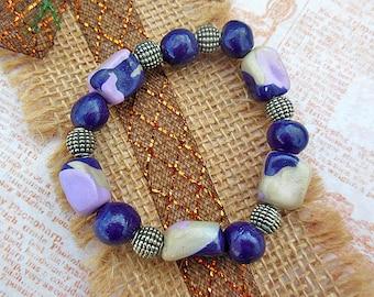 Purple Stretch Bracelet, Purple Bracelet, Purple Beaded Bracelet, Clay Bracelet, Polymer Clay Jewelry, Polymer Bracelet, Bohemian Bracelet