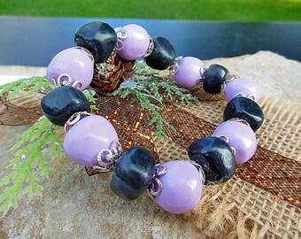 Polymer Bracelet, Clay Bracelet, Polymer Clay Jewelry, Beaded Bracelet, Stretch Bracelet, Handmade Beads, Clay Beads, Unique Bracelet