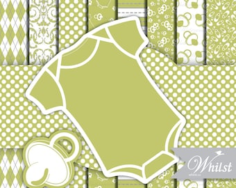 Baby Digital paper frame baby green argyle photo circle digital frame clip art onepiece stripe : p0200 3s1250
