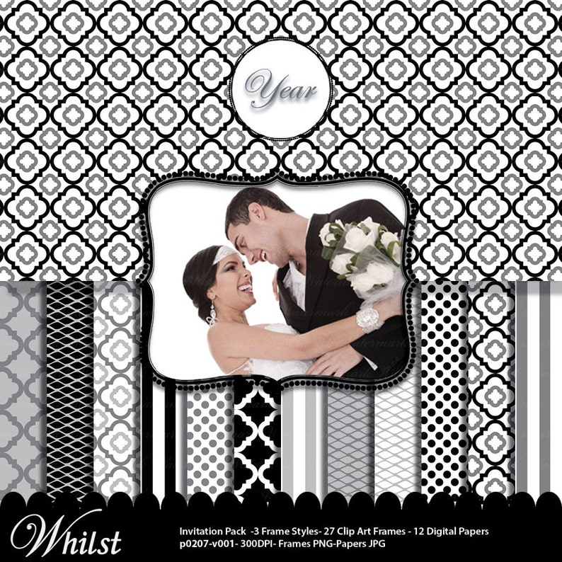 Black and gray digital paper frame gray and white stripe image 0