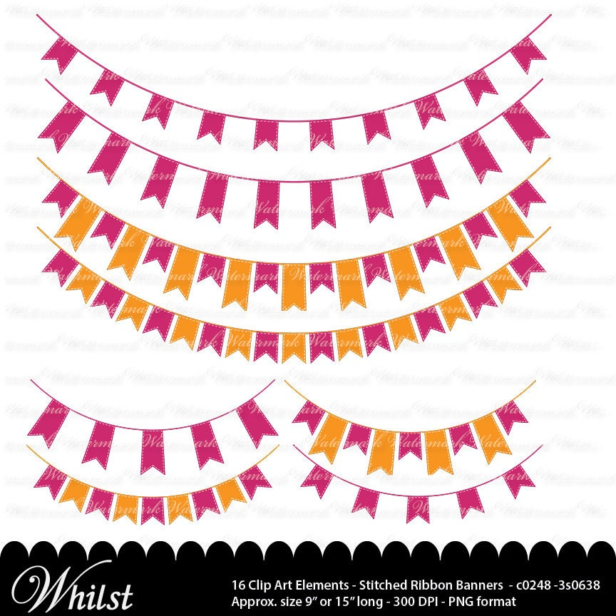 Orange Pink Banner clip art fuscia ribbon clipart graphics ...