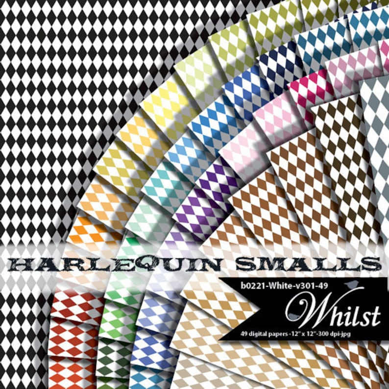Harlequin digital paper small diamond background pattern mini image 0