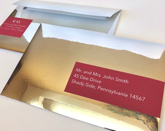 Silver Mirror Foil Envelopes - A9 with Custom Labels