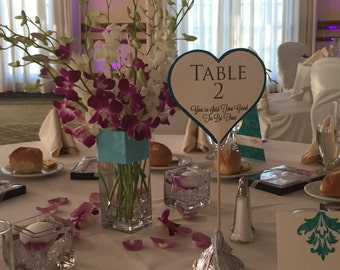 Love and Hershey Kisses Heart Shaped Table Numbers