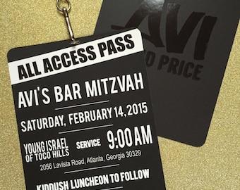 VIP Pass Bar/Bat Mitzvah Invitation with Lanyard - Spot Gloss Logo