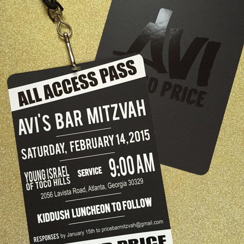 VIP Pass Bar/Bat Mitzvah Invitation with Lanyard  Spot Gloss image 0