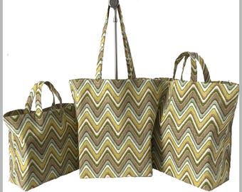 Beach Bag Reusable Shopping Bag. Large Three Sizes: Small Market Bag Grocery Tote Bag Large with Long Handles
