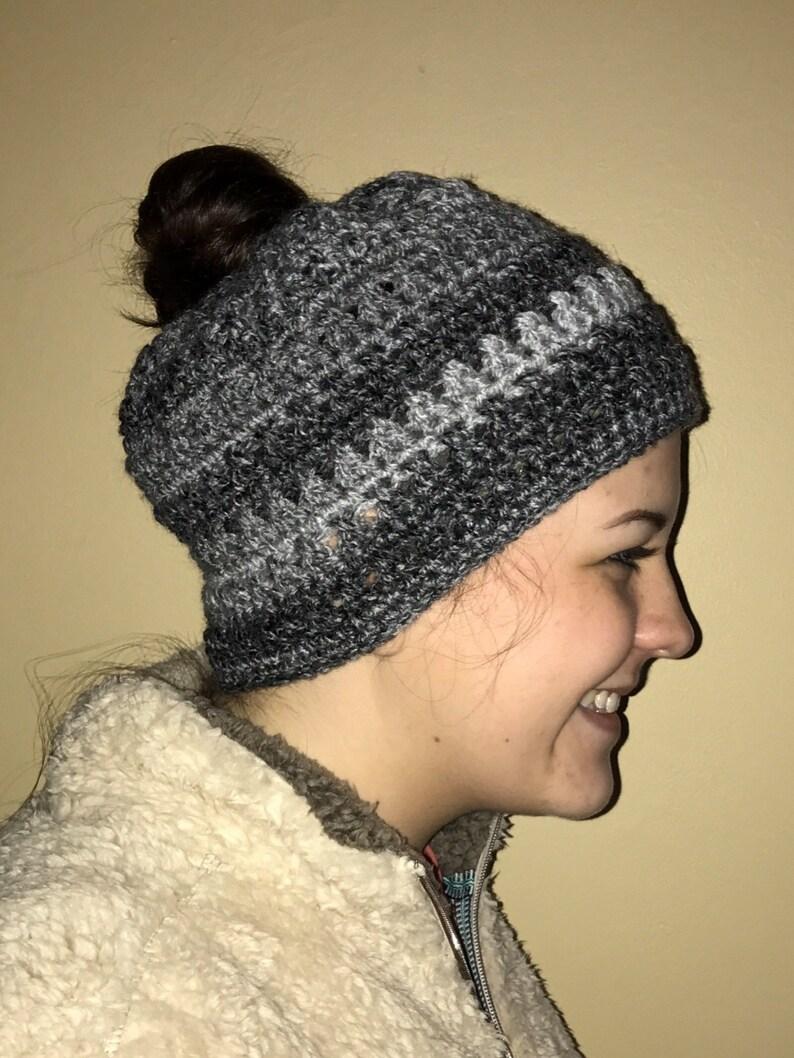 9fa2d59a174 Messy Bun Beanie Crochet Beanie Messy Bun Hat Crochet