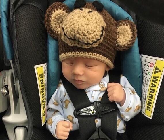 Häkeln Baby Monkey Hut und Windel mit Schwanz befestigt