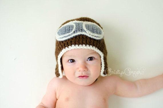 Crochet Aviator Hat Newborn Aviator Hat Baby Pilot Hat  51c9c508fe0