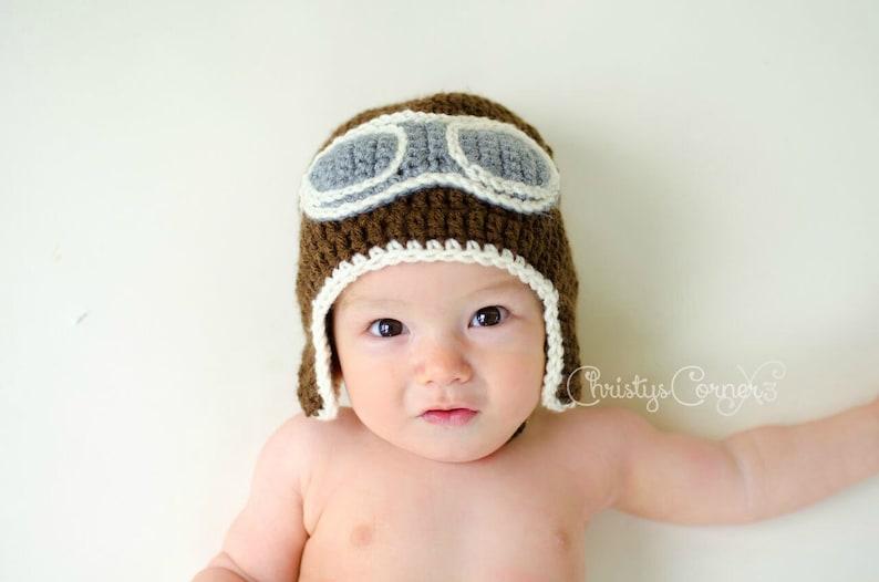 82f542891e8 Crochet Aviator Hat Newborn Aviator Hat Baby Pilot Hat