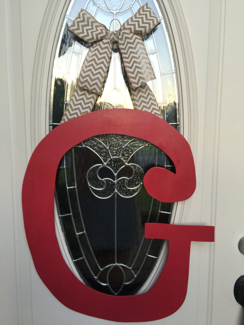 Made To Order Wreath Monogram Door Hanger Red Black Chevron Burlap White Letter Jolash Pl