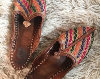 leather flats tribal