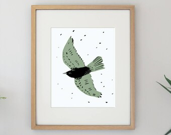 Free Bird Illustration Flying Bird Archival Art Print