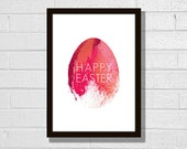"Painted Easter egg printable poster 8x10"". Modern minimalist spring design colors. English, French and German."