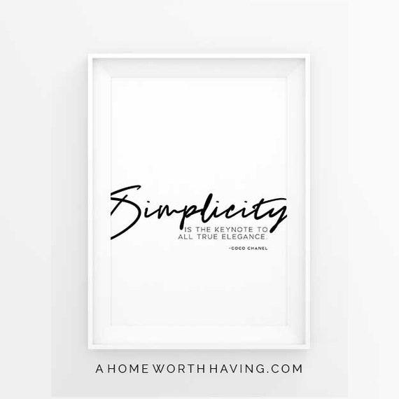 coco chanel zitat englisch 39 einfachheit ist der schl ssel etsy. Black Bedroom Furniture Sets. Home Design Ideas