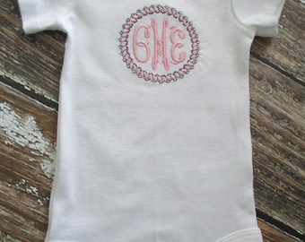Pearls and Lace Frame with Initials Bodysuit