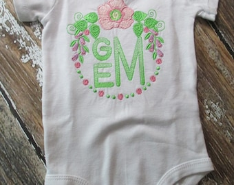 Floral Frame with Initials Bodysuit